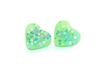 Lime Green Heart Earrings Glow in the Dark Stud Ear Post Jewelry Jelly Neon Blacklight Green Earrings Iridescent Surgical Steel