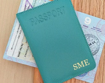 Personalized passport cover,  RFID passport cover,  monogram passport, leather passport cover, passport cover personalized • Turquoise
