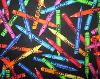 Crayons Realisitc Crayola Black Cotton Fabric Fat Quarter Or Custom Listing