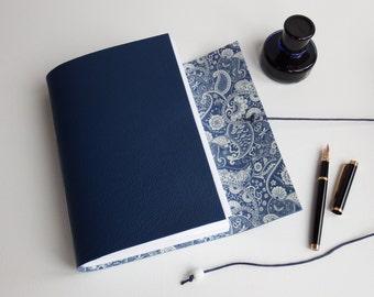 Dot Grid Notebook, bujo, Ruled Lined Journal, Blue Leather Journal, Blank Book, Mindfulness Journal, Paisley Journal, Artist Sketchbook