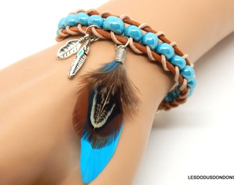 Turquoise leather wrap bracelet natural feather charms