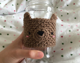 Blushing Bear Cup Cozy - Crochet Cup Cozy - Reusable Coffee Tea Bottle Jacket