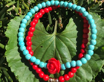 Turquoise and Rose bracelet