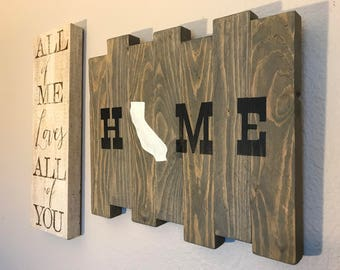 Rustic California Home Sign, Grey Stained Home Sign, Home Sign, Texas Style Home Sign, Wood Home Sign, California Outline Home Sign