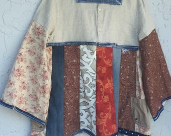 Crazy patchwork denim /Lagenlook/festival /party/ colorful /bohemian/floral/romantic /poor girl tunic/dress