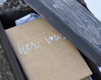 Wedding vows book rustic wedding shabby chic wedding ceremony pocket wedding book personalized wedding gift wedding keepsake calligraphy