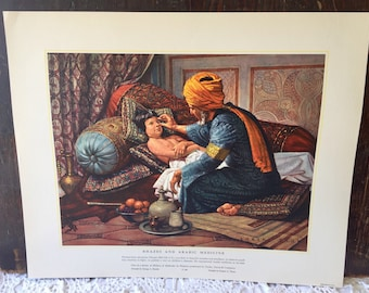 Rhazes & Arabic Medicine/Medieval Hospitals Vintage Lithograph USA Prints History Of Medicine In Pictures
