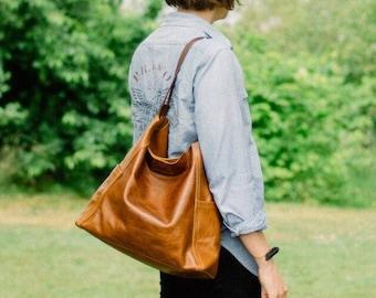 KIRIGAMI SET soft leather shoulder bag - large slouchy leather bag - large hobo bag - our team favorite