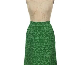 vintage 1970's free bird skirt / peace doves stars / novelty print / cotton / green / handmade skirt / women's vintage skirt / size medium