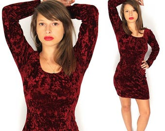 Vintage Crushed Velvet Mini Dress - 90s Velvet Body Con Mini Dress - 90s Witchy Goth Crushed Velvet Mini Dress - Burgundy Velvet Dress
