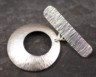 Handmade sterling silver toggle clasp starburst texture