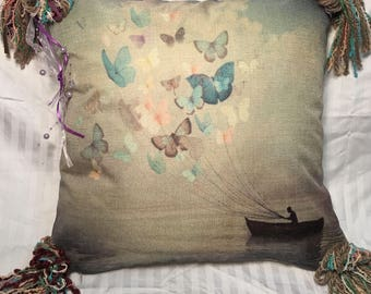 Butterfly Balloons-- Pillow Cover