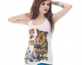 Attack of the 50 Foot Hamster White Ladies Vest Top S M L