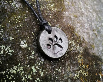 Paw Print Pendant, hand forged, Paw Print Necklace, Paw Print Charm, Cat Paw
