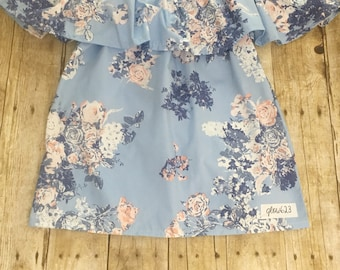 Ruffle neck top- Ruffle neck blue floral top- off the shoulder top