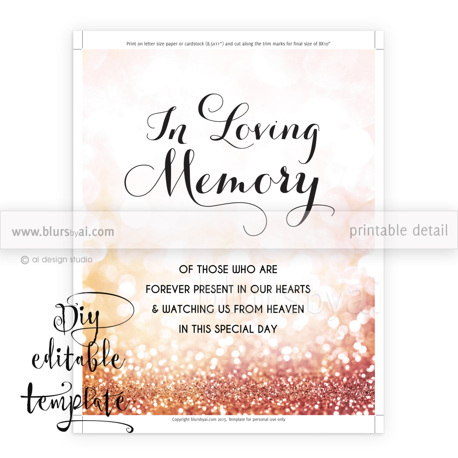 Printable memorial sign TEMPLATE, diy wedding memorial sign, In ...