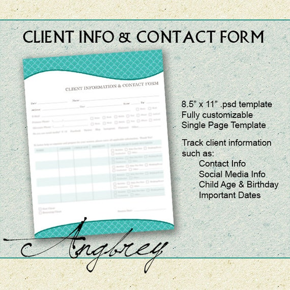 Client Info  Contact Form For Photographers Client