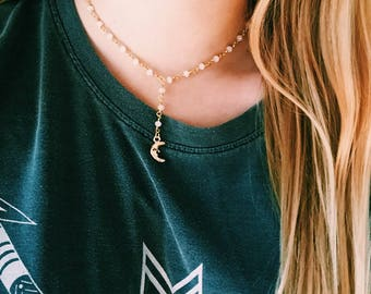 Gold Delicate Y-Chain Lariat Rosary Moon Choker