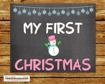 My First Christmas Sign | Baby's First Christmas Chalkboard Sign | My First Holiday Signs | Baby's 1st  Holiday | Snowman Christmas