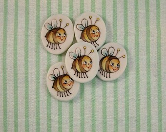 Buzzy Bee Buttons set of 5