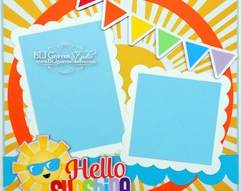 Sunshine Rainbows Summer Spring Premade Scrapbook Page 12x12 Layout Paper Piecing Handmade 39