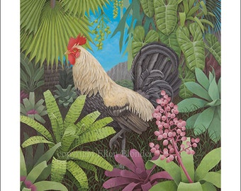 White Rooster, Small Giclee Print