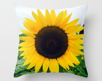 Sunflower Yellow, Pillow Cover, 6 sizes,home decoration,flowers,yellow,green,blue,floral,country living,interior design,Macro, Accent Pillow