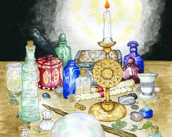 Wizard's Witch's Magician's Workshop Print Pagan Wiccan Magickal Fantasy Altar Art Ink and Watercolour Illustration Occult Still Life