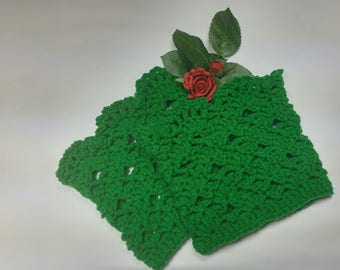 Crochet St. Patrick's Day  Green Lacy/Lace Boot Cuffs/ Boot Toppers/Boot accessory made with soft and cozy yarn