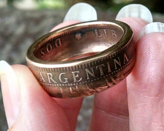 Copper Coin Ring - 1891 Copper Argentina Dos Centavos Coin Ring - Size: 10 1/4