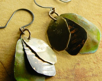 Rustic Copper Earrings Layered Mixed Metal Hammered Distressed Patina