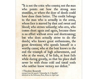 Man in the Arena, Theodore Roosevelt Quote, Graduation Gift, Literary Art Print, Grad Gift, Book Page Art Print, Inspirational Quote