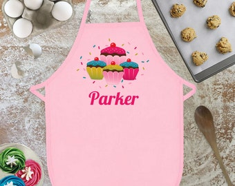 Girls Apron, Personalized Apron for Kids, Gift for Niece, Kids Cooking Apron, Cupcake Apron, Cupcake Party, Children's Apron, Gift for Girls