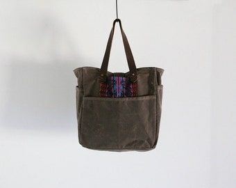Waxed Canvas Tote Walnut Brown