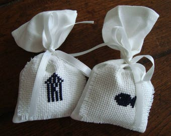 Set of 2 garden fragrant Lavender sachets, hand embroidered