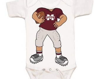 Mississippi State Bulldogs Heads Up! Football Baby Bodysuit