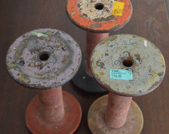 """Large Vintage Spool Bobbin Textile Wood Rustic Old Chippy Paint 9"""" Tall Organize Decor"""