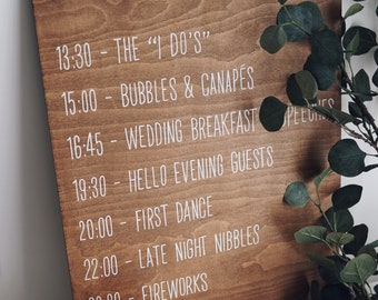 Wedding Order of the Day stained wooden sign, white text