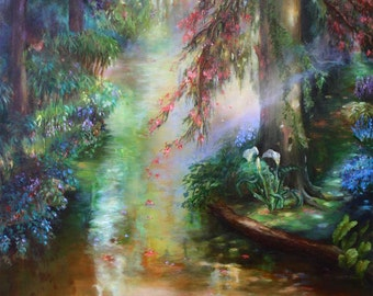 Impressionistic Oil Painting Inspired by Monet's River of Landscape In  'Fall Creek' Santa Cruz