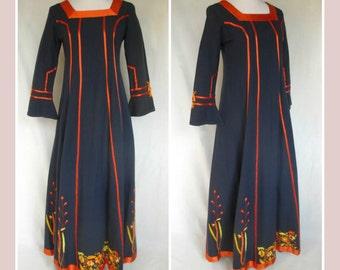1970s Josefa Mexico Maxi Dress, Embroidered Cotton, Medieval, Hippie, Boho