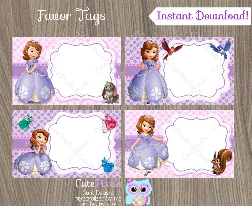 🔎zoom  sc 1 st  Etsy & Princess Sofia Favor Tags Sofia the first name tags Sofia