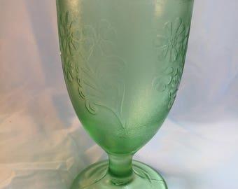 Vintage Green Vaseline Glass Goblet