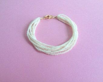 Bridesmaids gifts, Pearl bracelet, wedding jewelry, bridesmaid bracelet flower girl multistrand bracelet, white bracelet, seed bead bracelet