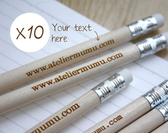 Personalized pencils, pack of 10 engraved by laser in France, wooden, graphite pencil, unique custom guests gift, wedding, birthday present