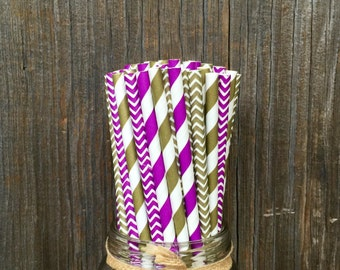 100  Purple and Gold Straws, Party Supply, Picnic Supply, Free Shipping!