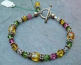 Swarovski Crystal Bracelet, 50% Off, Swarovski Bracelet, Spring Colors, Lilly Pulitzer Accessory, Yellow,Pink,Green,7-1/2 Inch,Gift For Her