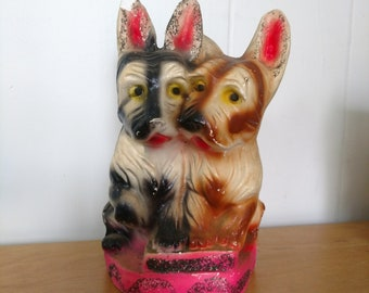 vintage dog terriers chalkware figurine statue