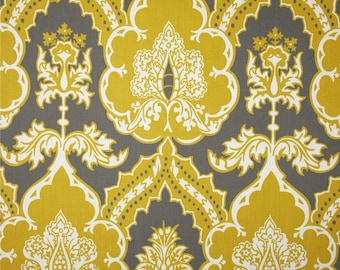 """Two  96"""" x 50""""  Custom  LINED Curtain Panels - Thomas Paul Duralee Seedlings - Floral Damask - Yellow/Grey"""