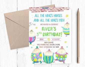 Humpty Dumpty Invitation, Humpty Dumpty Invitations, Humpty Dumpty Birthday Party, Humpty Dumpty Birthday invitations, Nursery Rhyme invites
