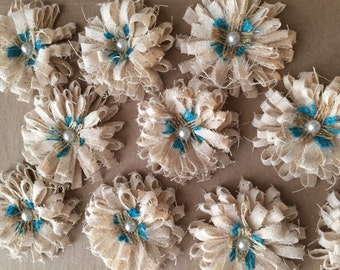 "Shabby Chic Mini 2 1/2"" Flowers with Burlap and Pearl Center - Set of 10"